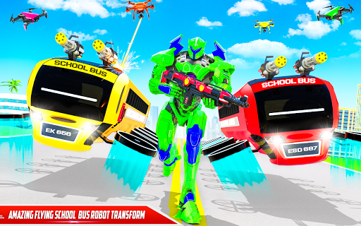 Flying School Bus Robot: Hero Robot Games apkmr screenshots 8