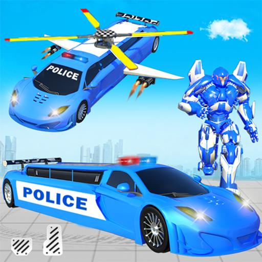 Limusin terbang helikopter polisi game robot mobil