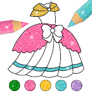 Glitter Dress Coloring Pages for Girls