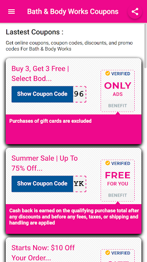 Coupons for Bath & Body Works 13.14.1v Screenshots 1
