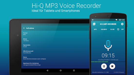 Hi-Q MP3 Recorder (Pro) Screenshot