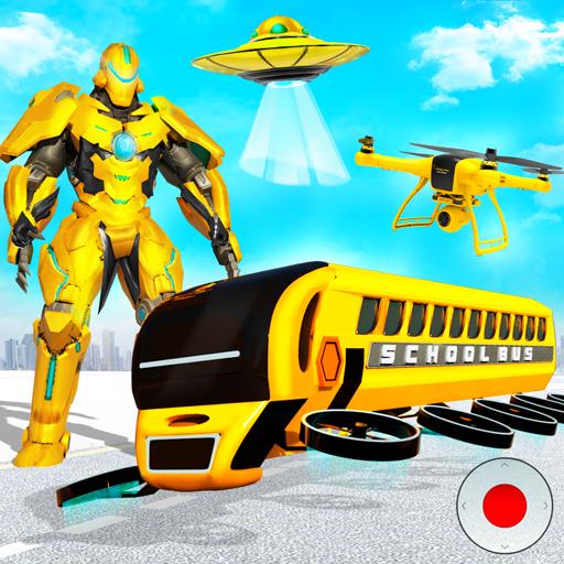 Robot bas sekolah terbang permainan robot wira