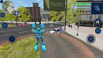 Blue Robot Car Transforme Futuristic Supercar Hero