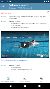 Swimming workout builder