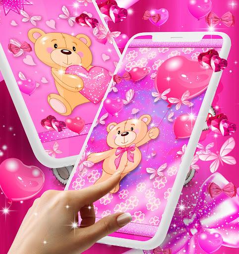 Teddy bear love hearts live wallpaper android2mod screenshots 2