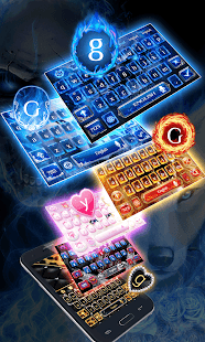 Blue Fire Wolf Keyboard Theme
