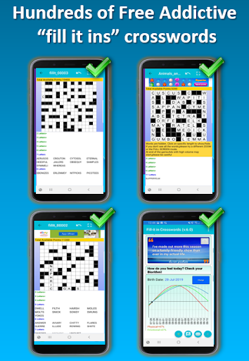 Fill it ins word puzzles - free crosswords 7.6 screenshots 1