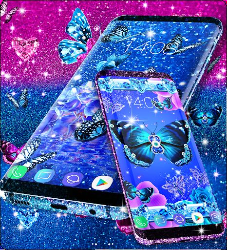 Blue glitter butterflies live wallpaper apktram screenshots 11