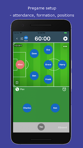 subtime: playing time and sub tracking for coaches screenshot 1