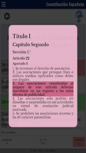 Tests oposiciu00f3n constituciu00f3n Espau00f1ola apktram screenshots 5