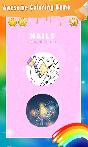 Glitter Nail Drawing Book and Coloring Game 5.0 Screenshots 1