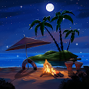 Tropical Beach at Night Live Wallpaper