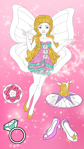 Glitter Dress Coloring Pages for Girls  Screenshots 12