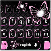 Black Pink Butterfly Keyboard Theme