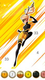 Miraculous Ladybug & Cat Noir. Color by number 4