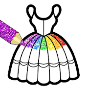 Glitter Dresses Coloring Book For Girls