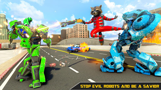Raccoon Robot Hero Game: Flying Bike Robot Games  Screenshots 8