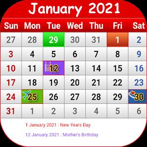 South African Calendar 2021