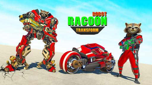 Raccoon Robot Hero Game: Flying Bike Robot Games  Screenshots 14