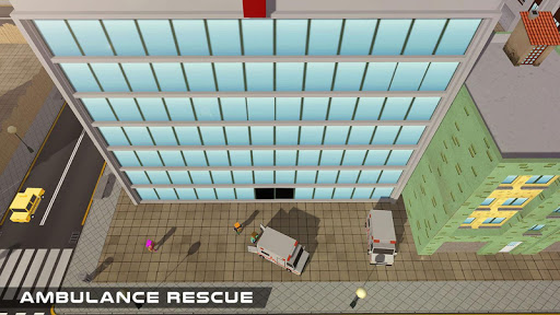 Blocky US Fire Truck & Army Ambulance Rescue Game apkmr screenshots 7