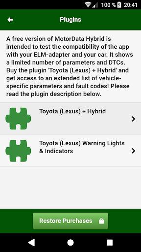 Doctor Hybrid ELM OBD2 scanner. MotorData OBD 1.0.8.33 Screenshots 8