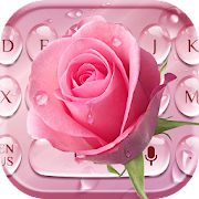 Pink Rose Water Drop Keyboard