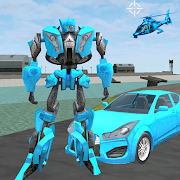 Blue Robot Car Transforme Futuristic Supercar Hero