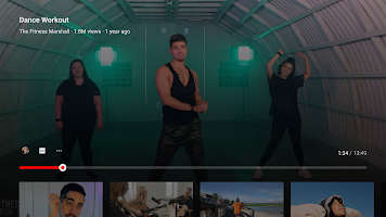 screenshot of YouTube for Android TV
