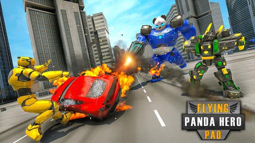 Flying Police Panda Robot Game: Robot Car Game screenshots 14