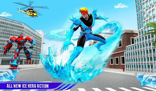 Flying Police Robot Snow Storm Hero: Crime City apktram screenshots 10