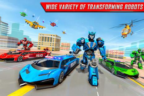 Flying Limo Robot Car Transform: Police Robot Game 1.0.32 Screenshots 3