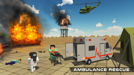 Blocky US Fire Truck & Army Ambulance Rescue Game apkmr screenshots 8