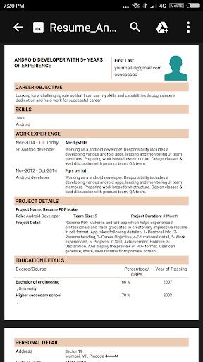 Resume PDF Maker / CV Builder 1.20 Screenshots 10