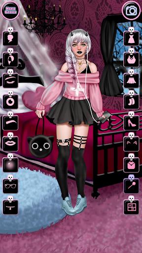 pastel goth fashion - make up & dress up screenshot 2