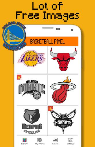Basketball Logo Team Color By Number - Pixel Art 9.0 screenshots 2