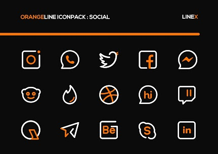 OrangeLine IconPack Pro Apk: LineX (Patched) 3