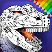 Dino Robots Coloring Book for Boys