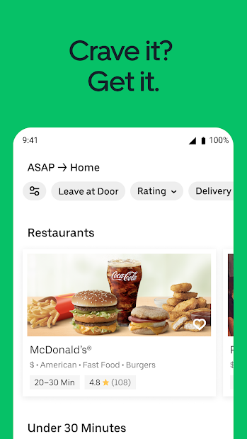 Uber Eats: Food Delivery Android App Screenshot