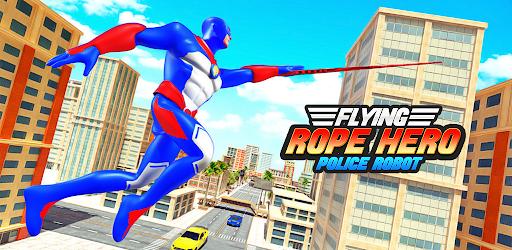 Flying Police Robot Rope Hero: Gangster Crime City