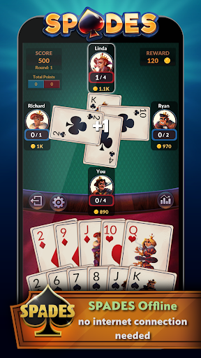 Spades - Offline Free Card Games apktreat screenshots 1