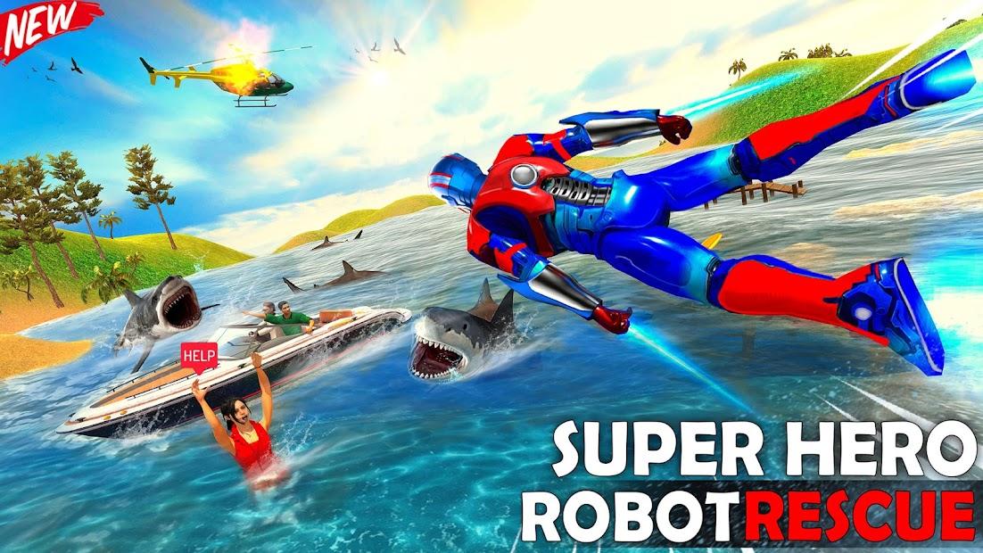 Captura 2 de Robot volar Grand City Rescate para android