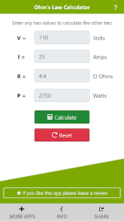 Ohm's Law Calculator Screenshot