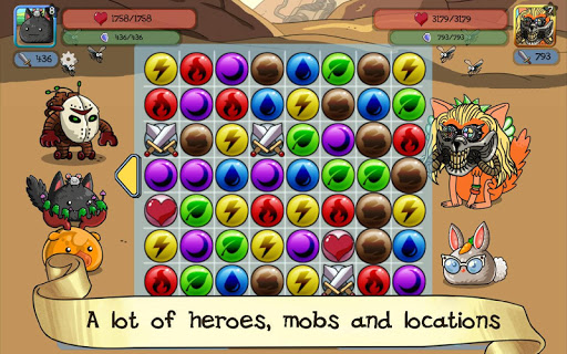fluffy adventure - match3 rpg & action puzzle game screenshot 2