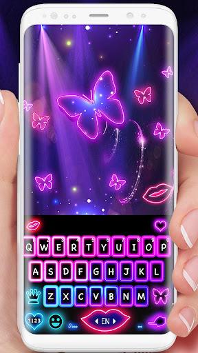 neon color butterfly keyboard theme screenshot 2