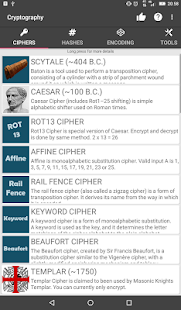 Cryptography - Collection of ciphers and hashes Screenshot