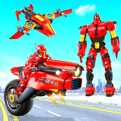 Héros robot moto volant jeu robot vélo vol