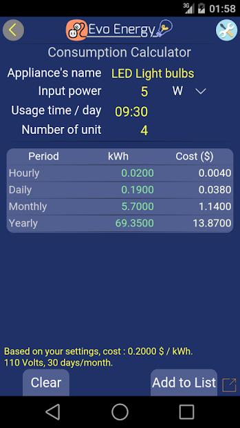 Imágen 3 de EvoEnergy - Electricity Cost Calculator Free para android