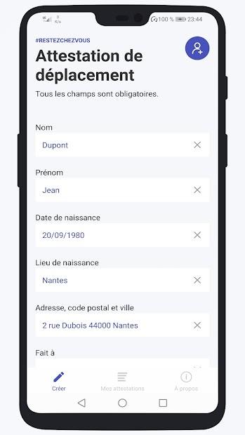 Attestation de déplacement Décembre 2020 Android App Screenshot