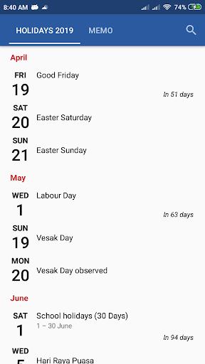 Monthly Calendar & Holiday 1.2.0 Screenshots 11
