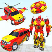 Flying Prado Robot transform car: Helicopter war